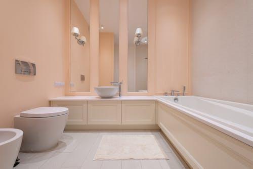 Interior of light spacious bathroom