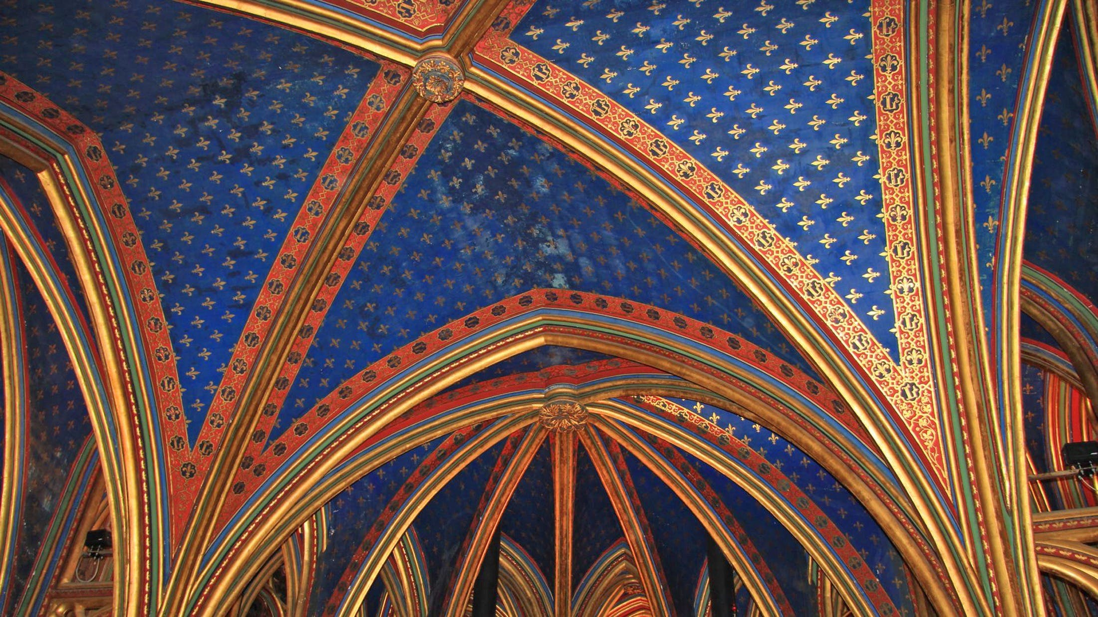 Blue and Gold Ceiling Panel