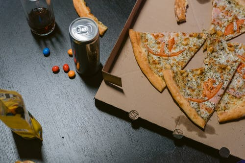Pizza on Brown Wooden Tray