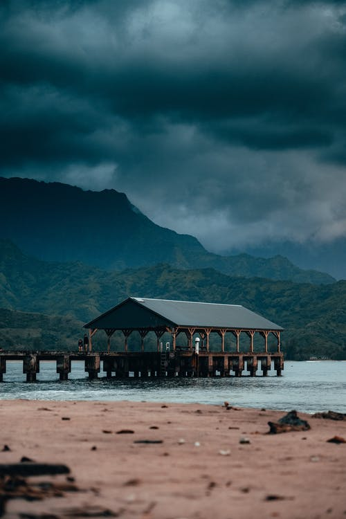 Green and Brown Wooden House on Beach