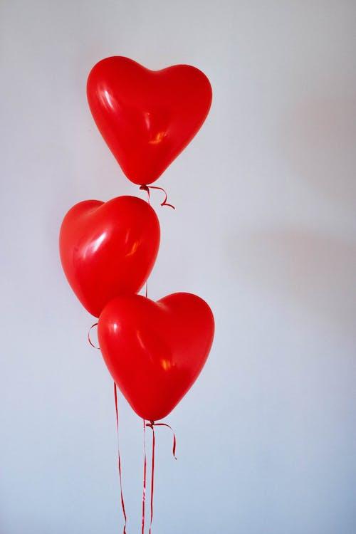 Three Red Heart Balloons