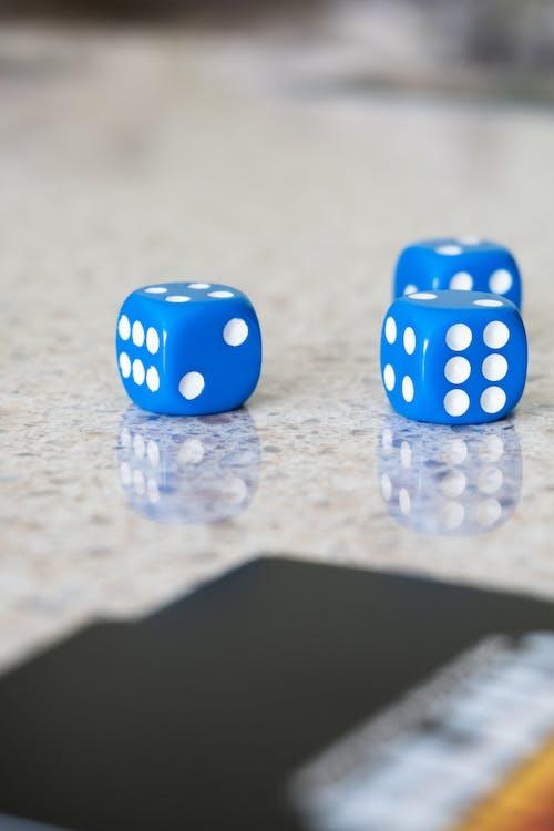Blue and White Polka Dot Dice