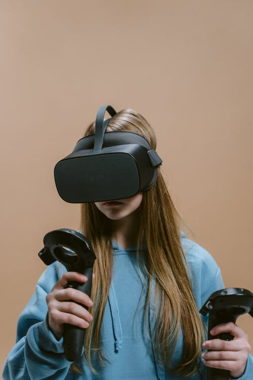 Close-Up Shot of a Woman Playing with Virtual Reality Headset