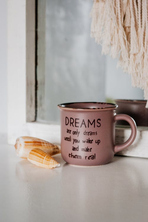 Ceramic cup with quote placed near seashells placed near window frame at daylight