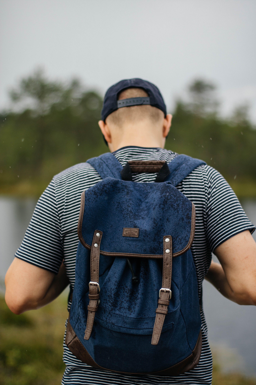 Man Wearing Black Backpack