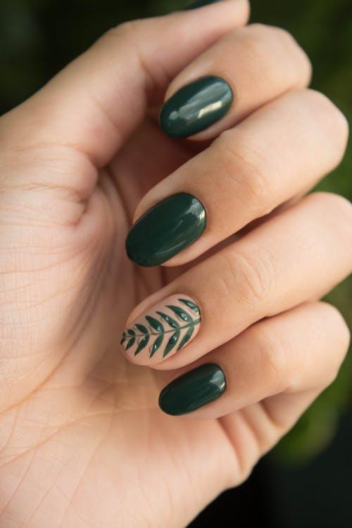 Green Manicure Art Close Up Photo