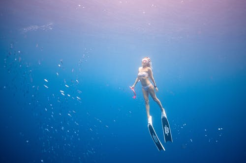 Full body of slim unrecognizable female diver in swimwear flippers and snorkeling mask swimming in clean blue water