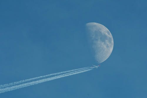 Free stock photo of airplane, half moon