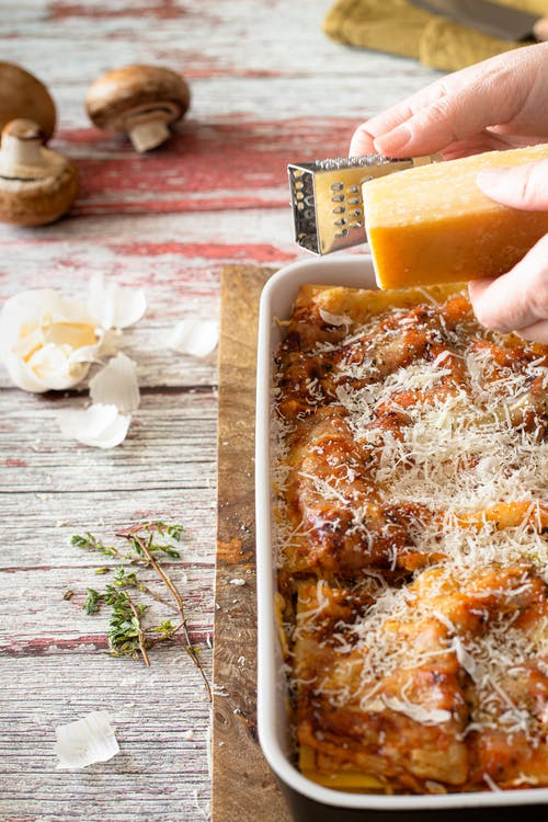 Baked Lasagna on a Cooking Tray
