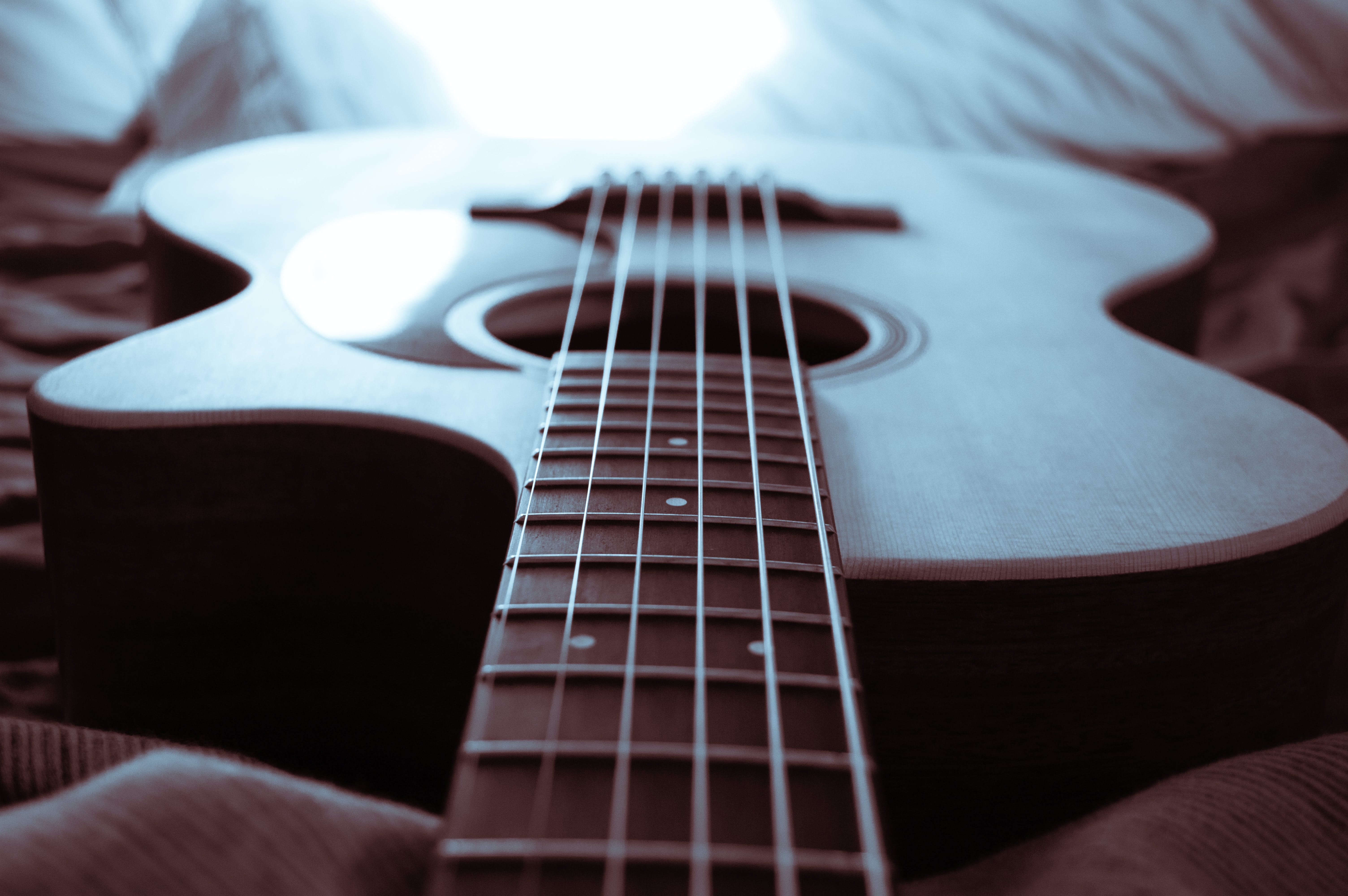 Free stock photo of acoustic, acoustic guitar, blue, guitar