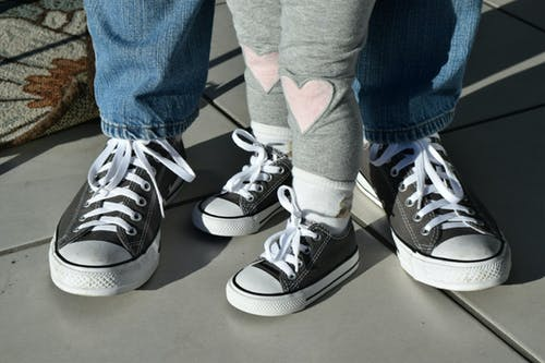 Free stock photo of dad and me, hearts, sneakers