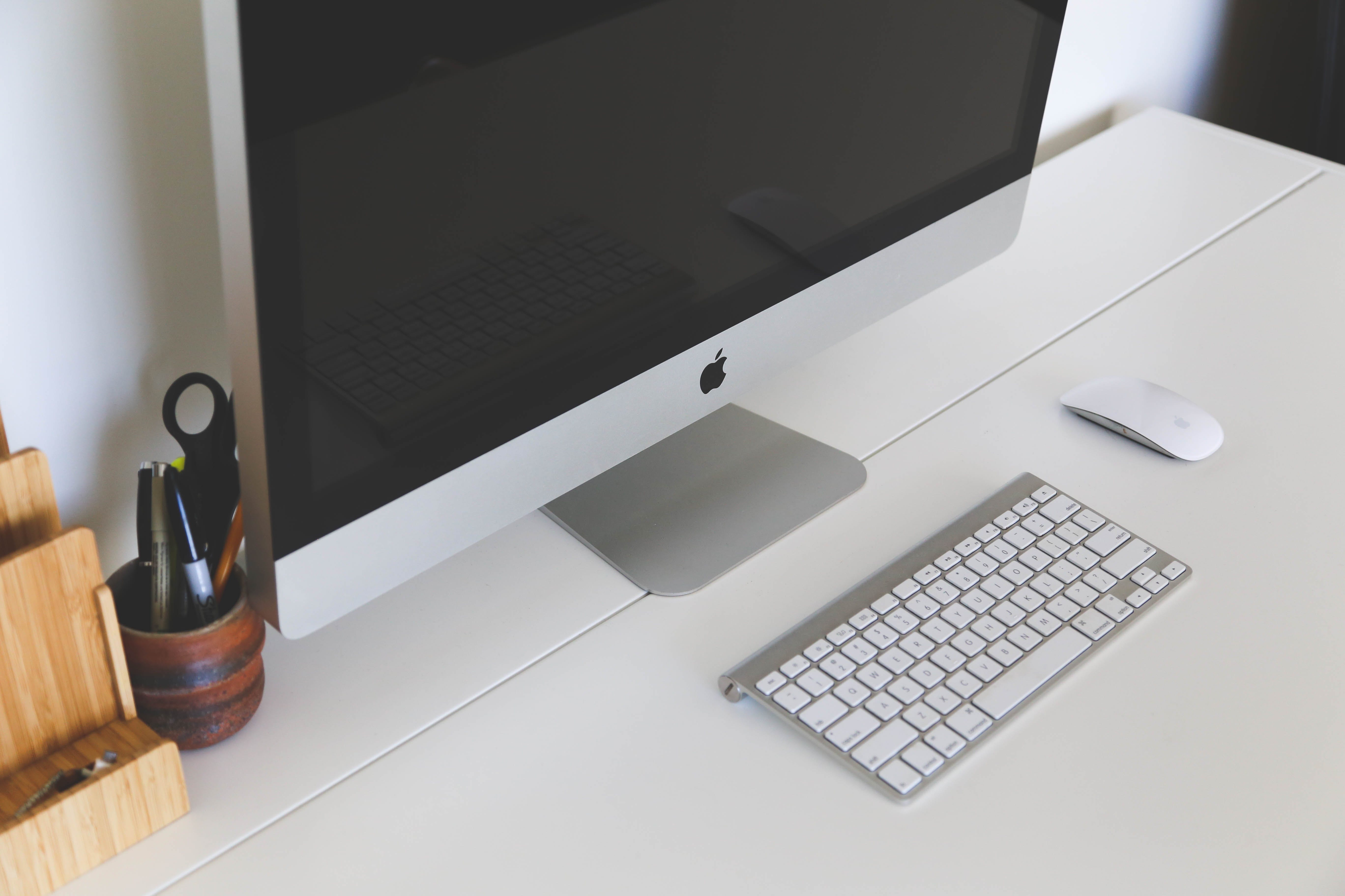 Free stock photo of apple, desk, office, computer