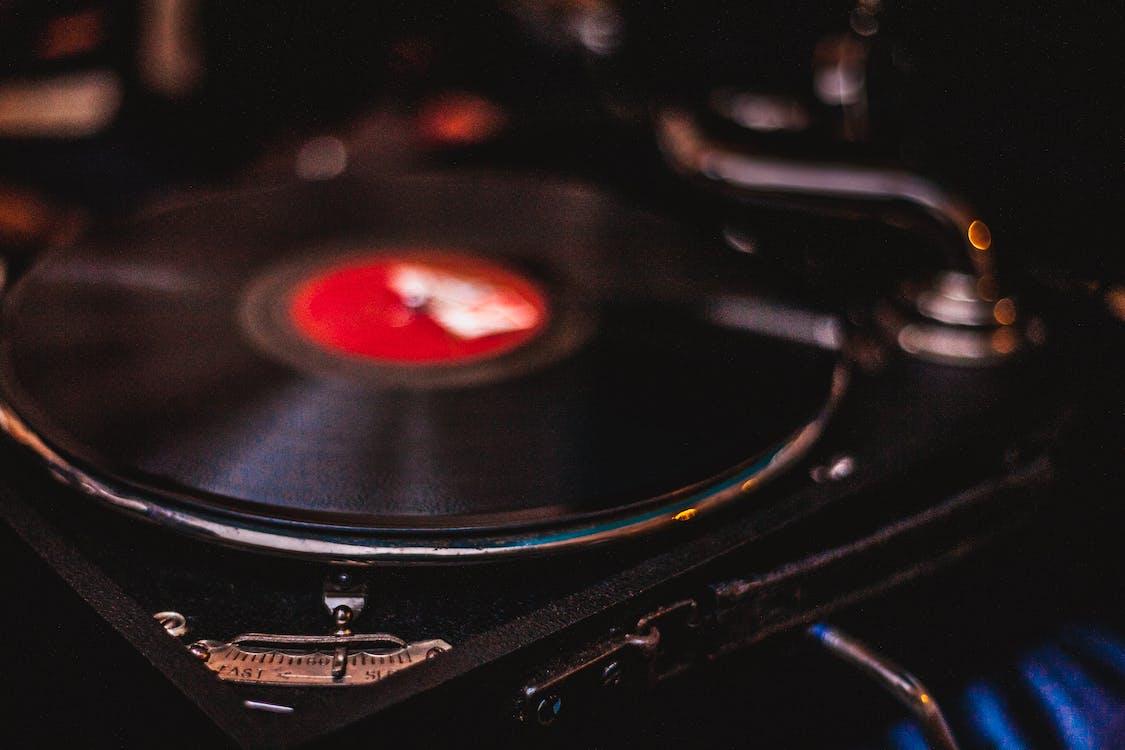 Unused Black and Red Turntable