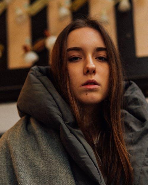 Woman in Gray Hoodie Jacket