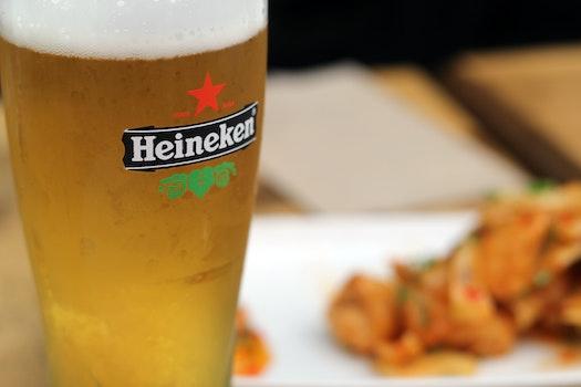 Filled Heineken Pilsner Glass