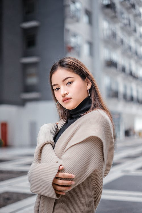 Woman in Brown Jacket