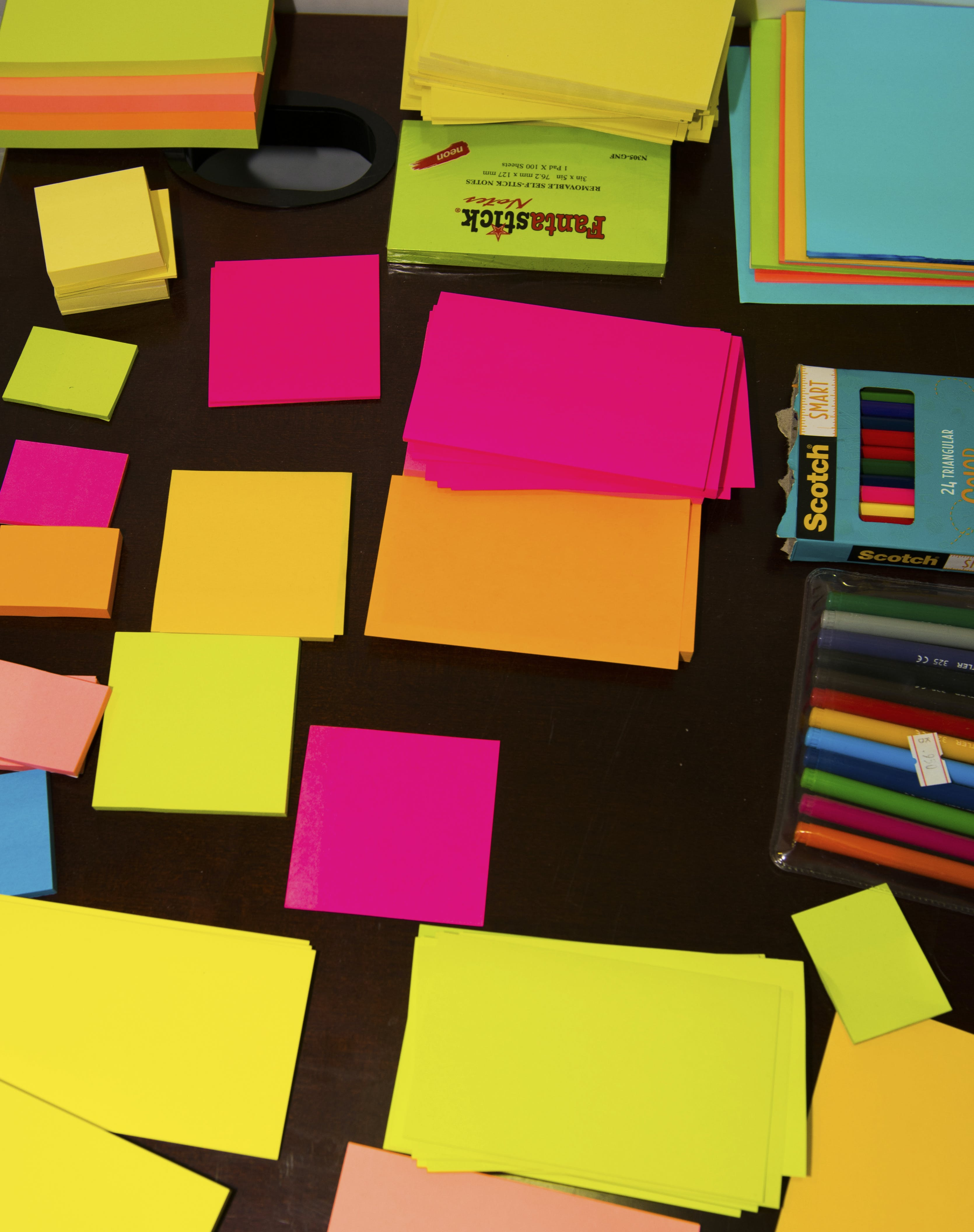 Free stock photo of office, colors, postit, stationary