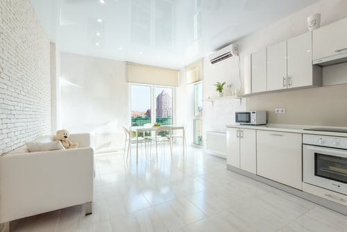 Modern kitchen with built in appliances and dining room