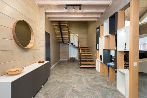 Modern Interior of corridor with geometric shelves