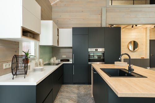 Modern kitchen with matte cupboards and built in appliances