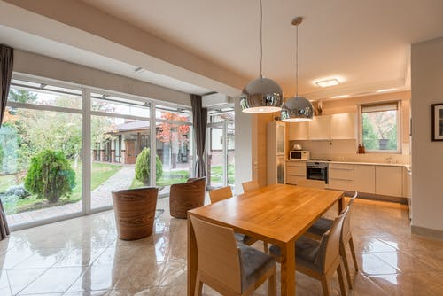 Spacious kitchen with dining zone and big windows