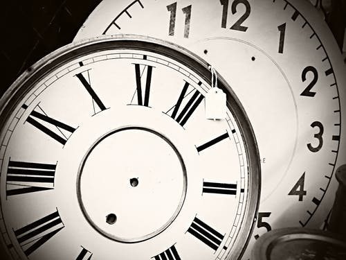 Free stock photo of antique, black and white, circles, clock face