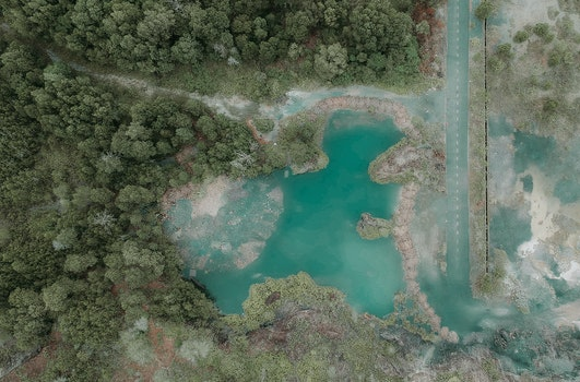 Aerial Photography Of Blue Lake