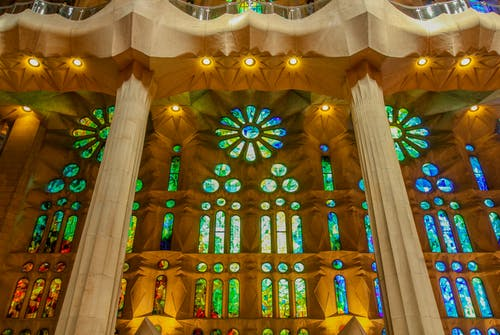 Free stock photo of amazing colors, arched window, barcellona