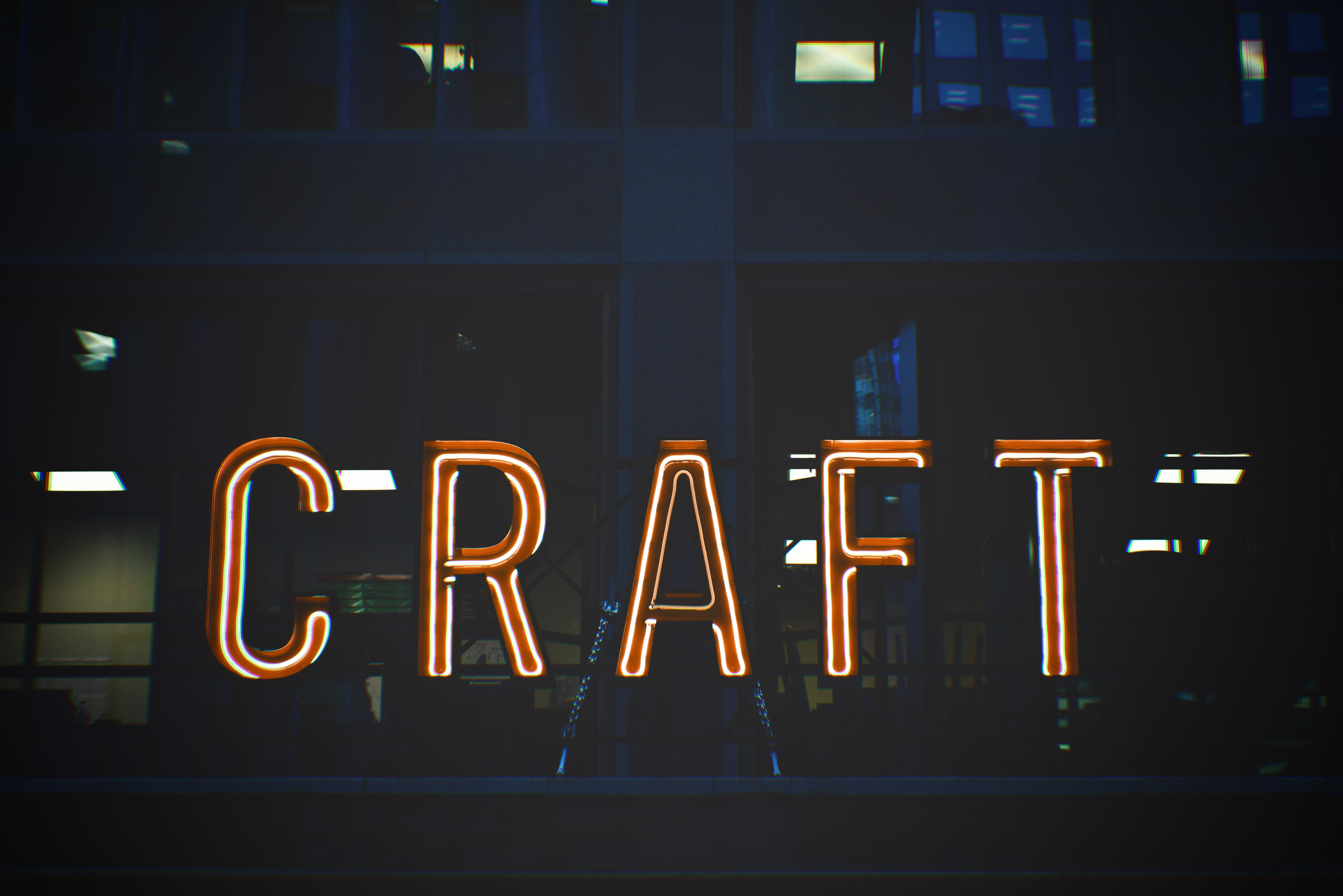 Red and White Craft Lighted Signage
