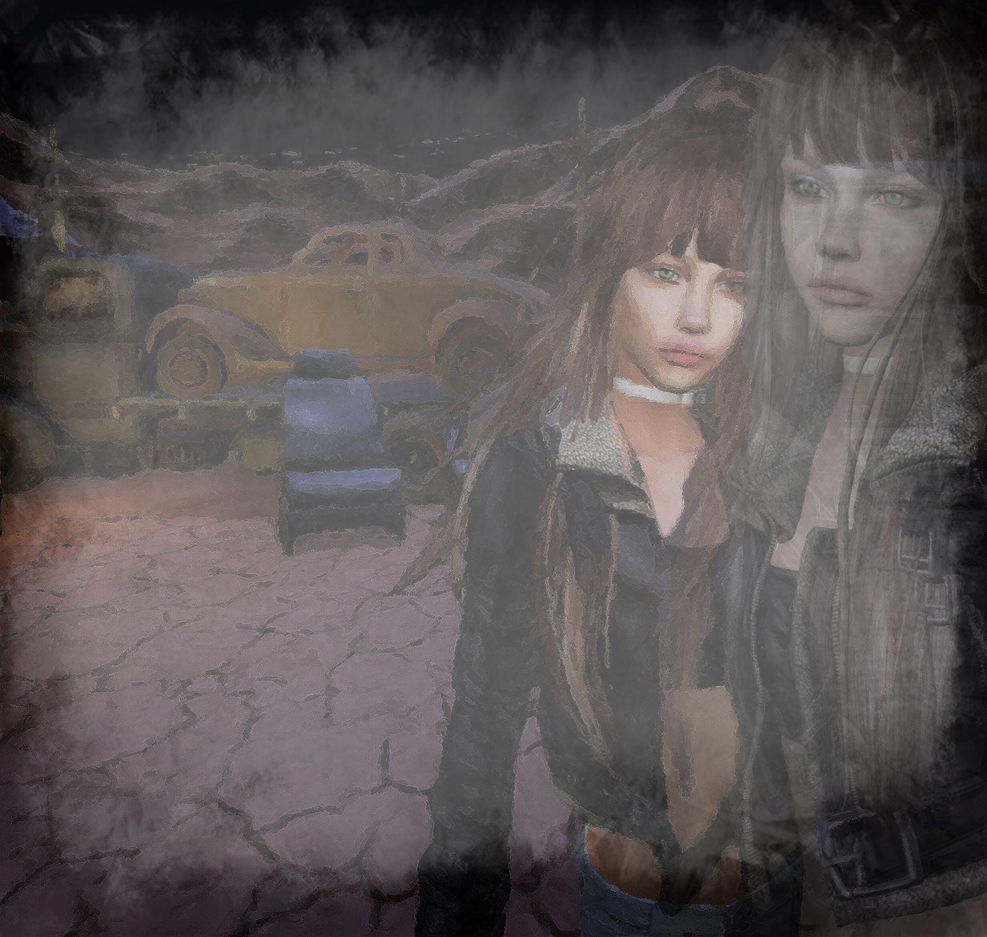 girl, junkyard