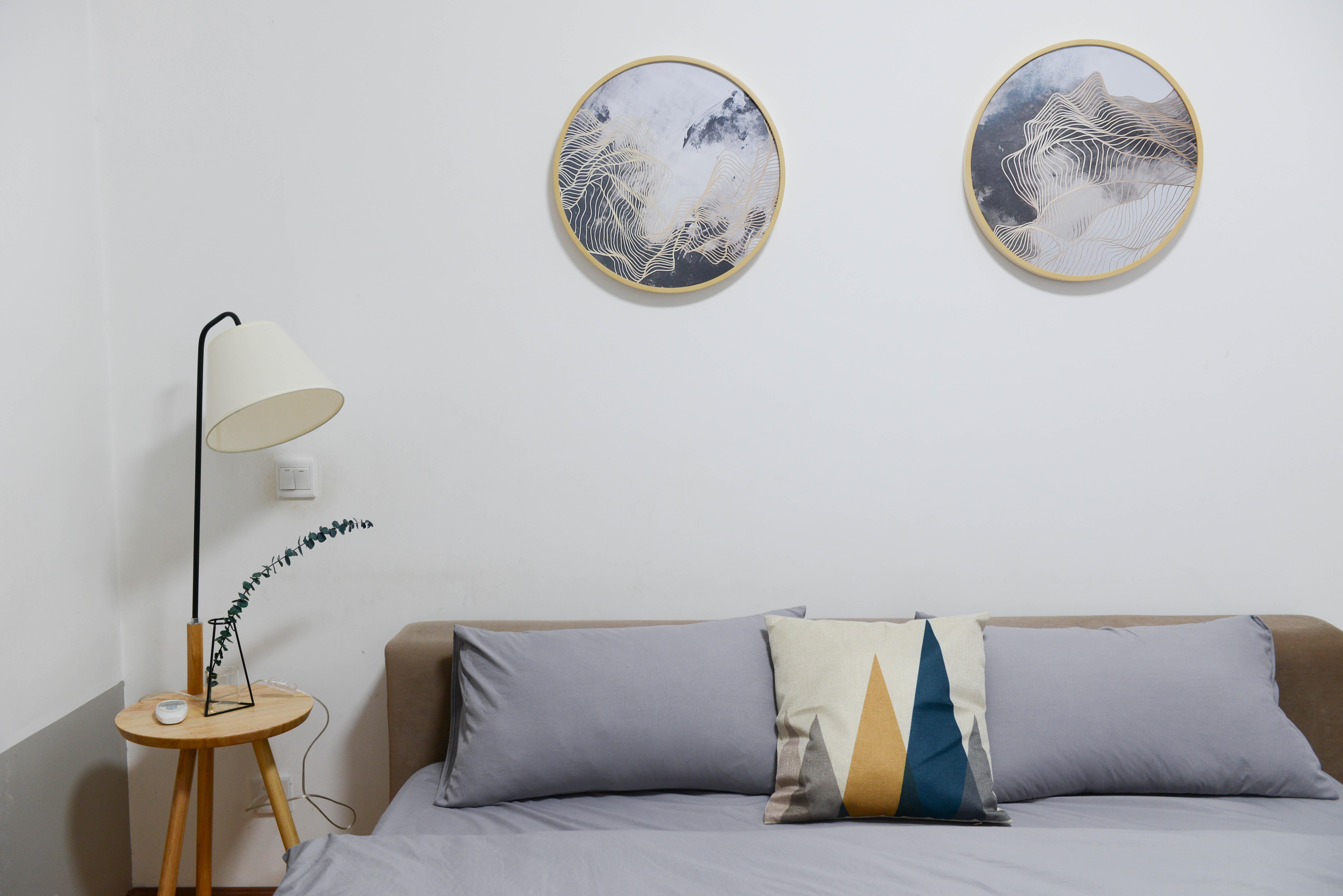 Beige Wooden Nightstand With White Desk Lamp Brown Wooden