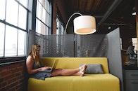 woman, laptop, office