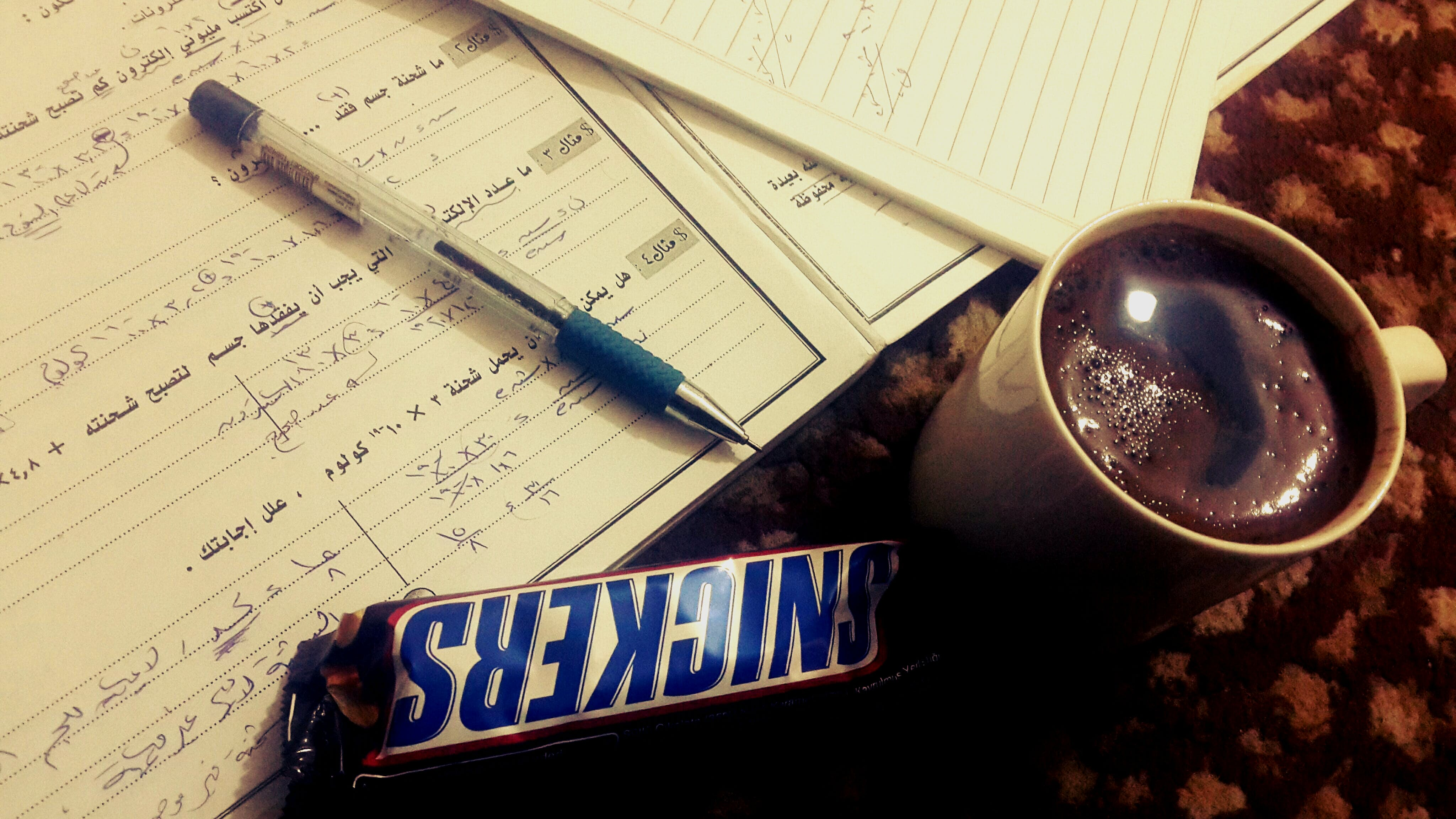 Free stock photo of coffee, physics, snickers, study