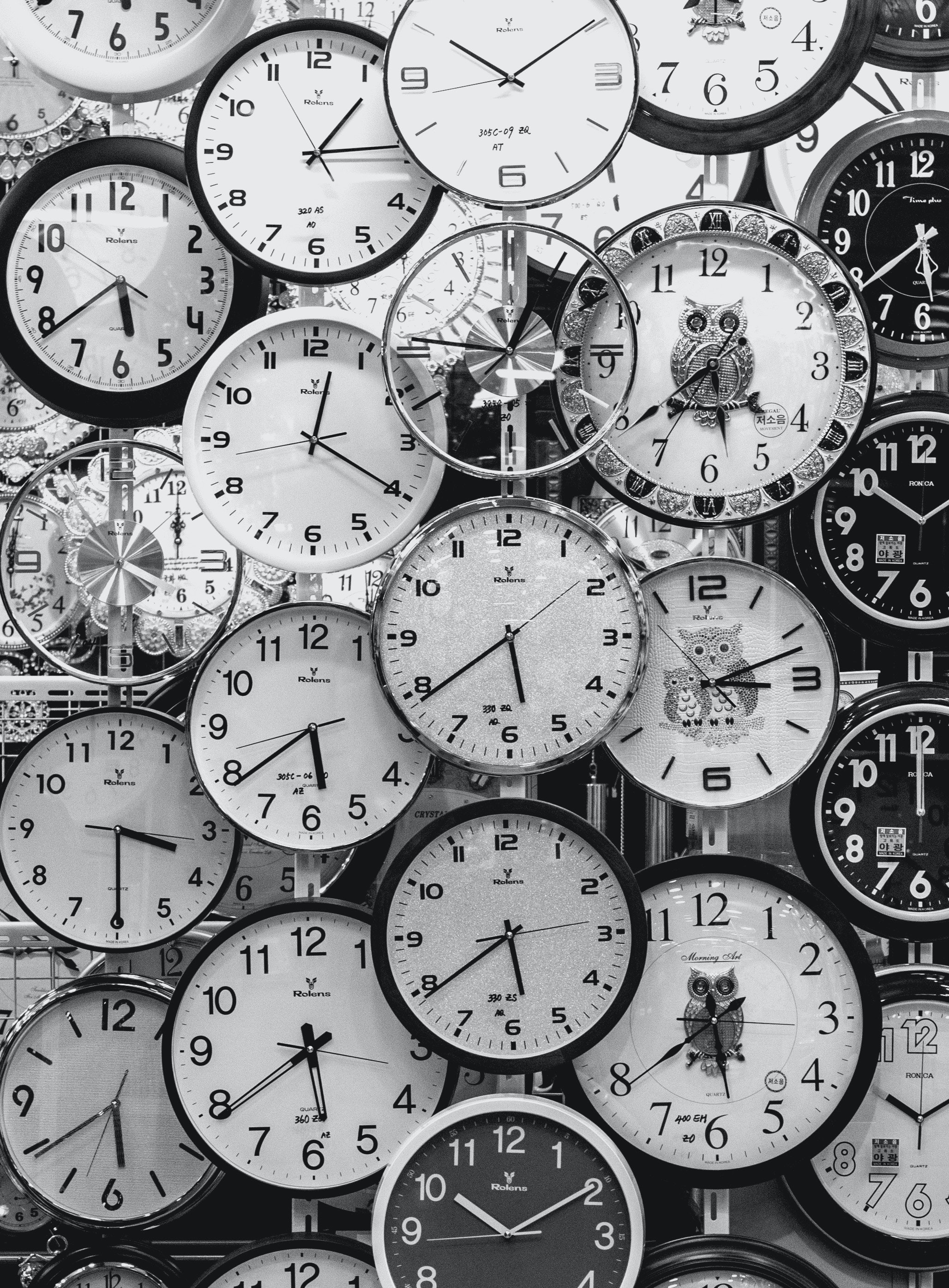 Black and white photo of clocks andrey grushnikov