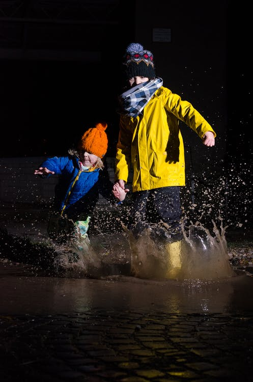 Free stock photo of family, kids, puddle