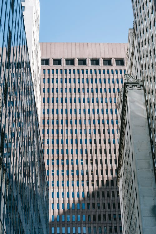 High skyscrapers in megapolis in sunlight