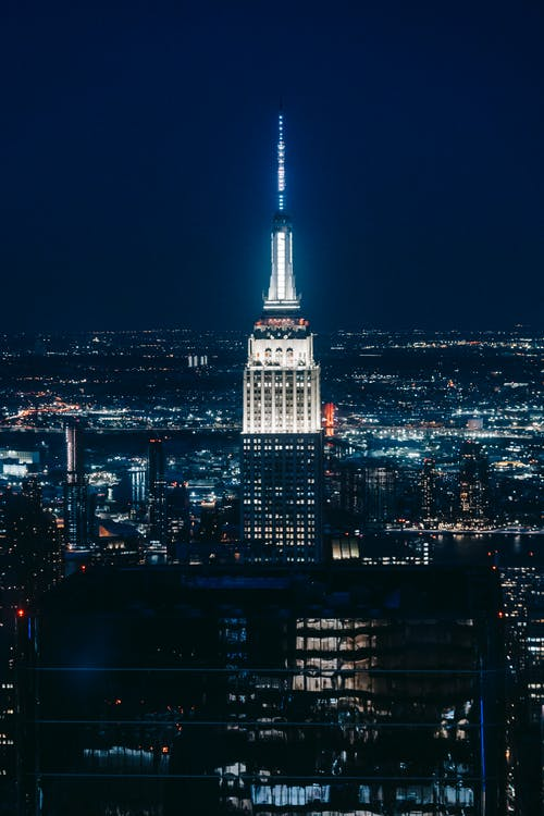 Empire state building at night time