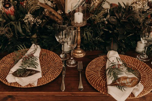 Served table with personalized napkins