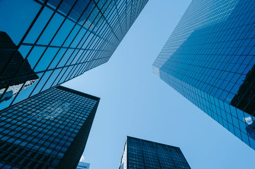 Modern skyscrapers against blue sky