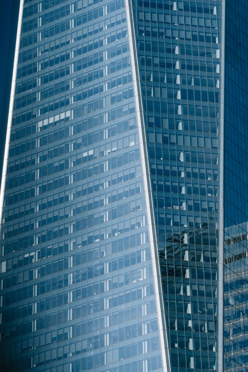 Modern skyscraper with transparent glass walls