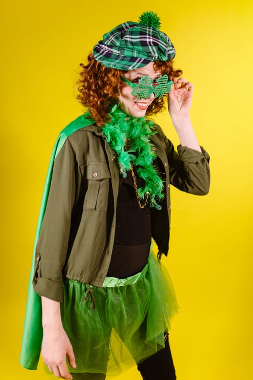 A Woman Wearing a Green Costume