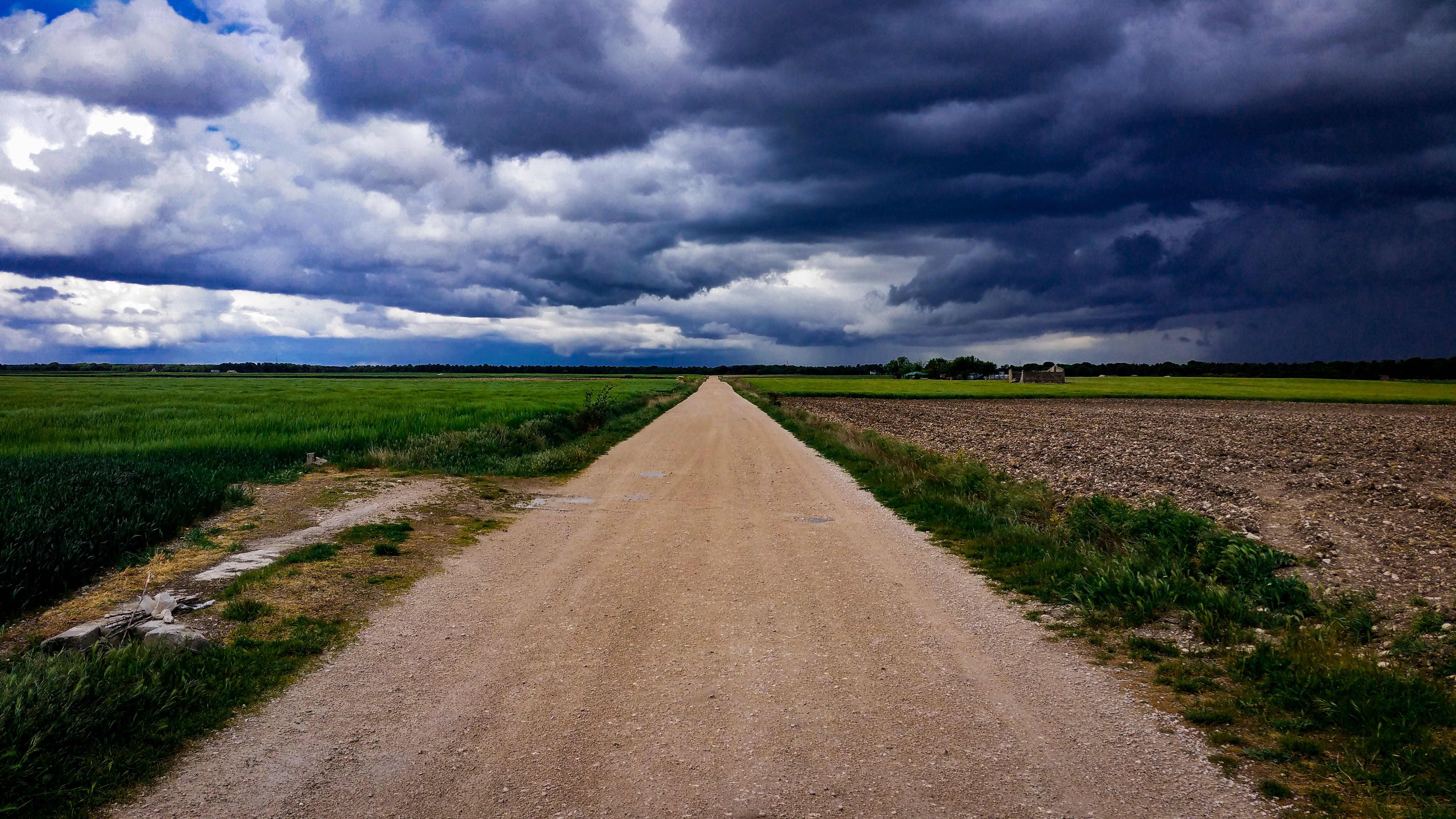 Dirt Road Surrounded With Green Field Under Cloudy Sky  U00b7 Free Stock Photo