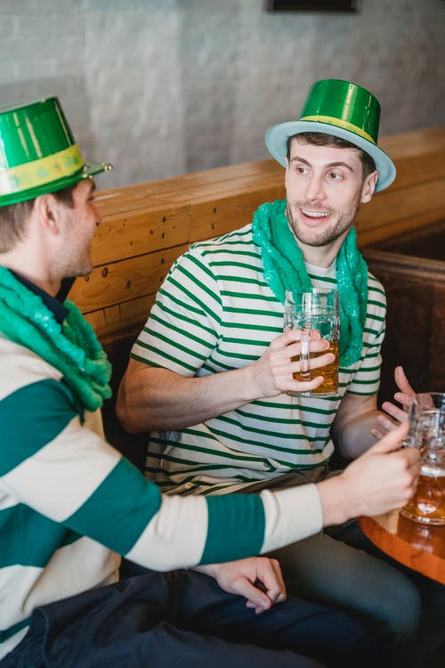 Best friends with beer celebrating St Patricks Day