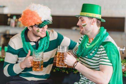 Men with beer celebrating Saint Patricks day