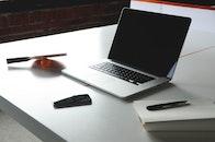 apple, desk, notebook