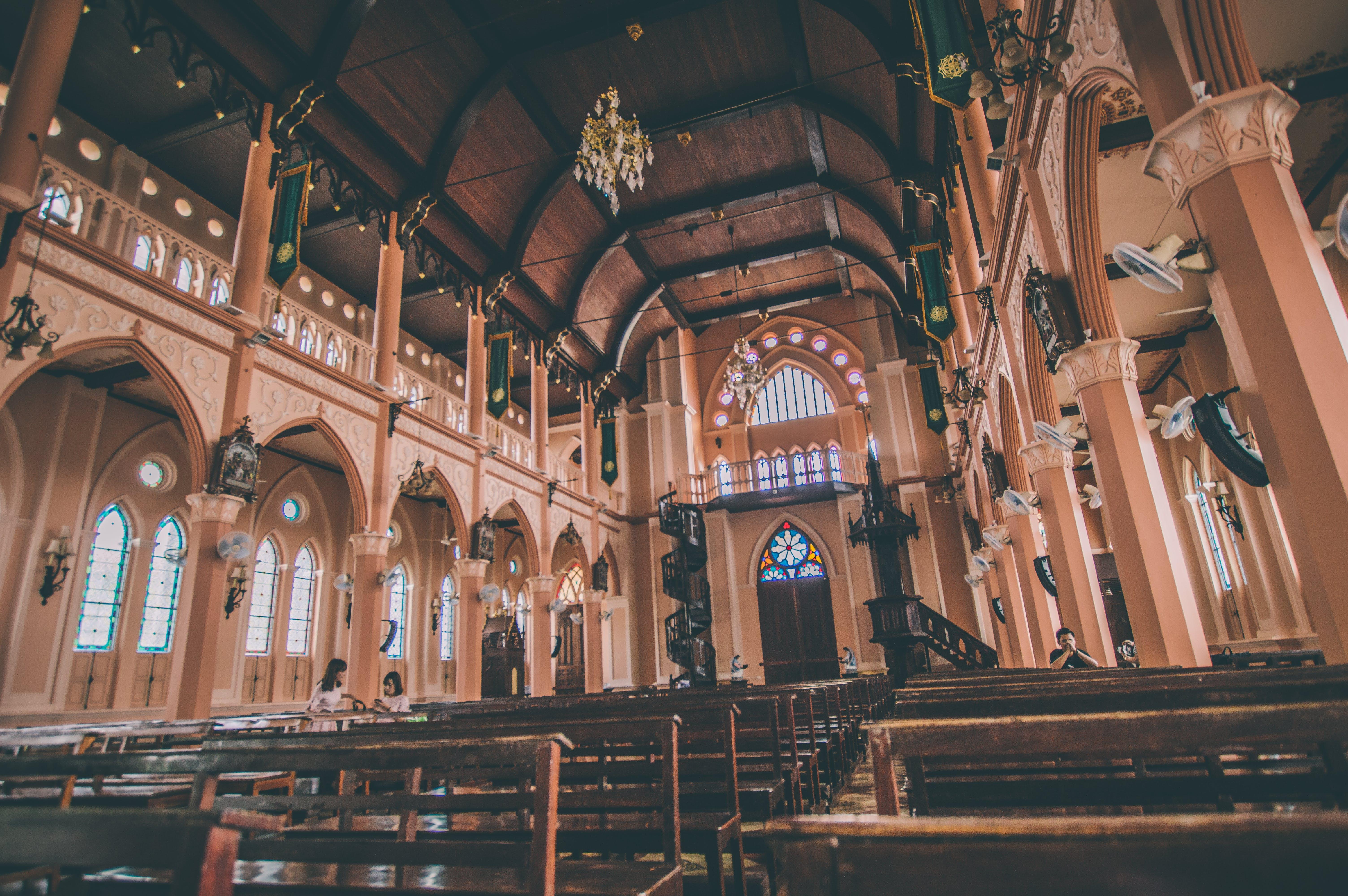 Brown Seats Inside A Church