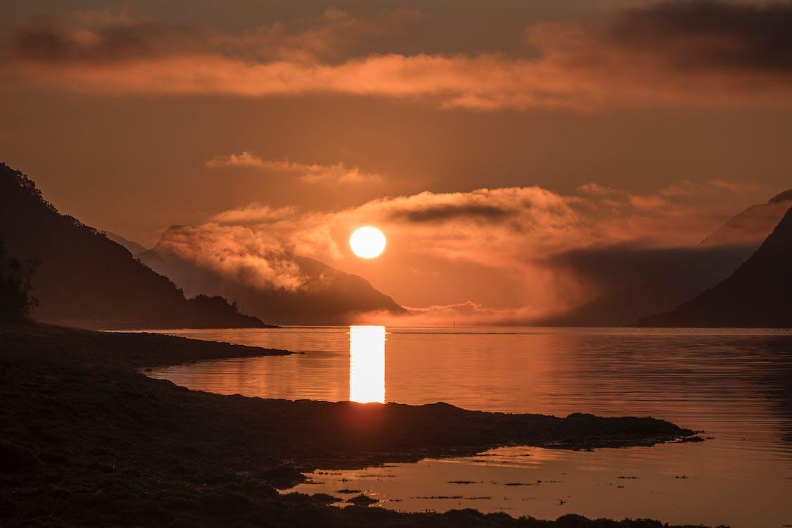 Арктический, вечернее солнце, горизонт