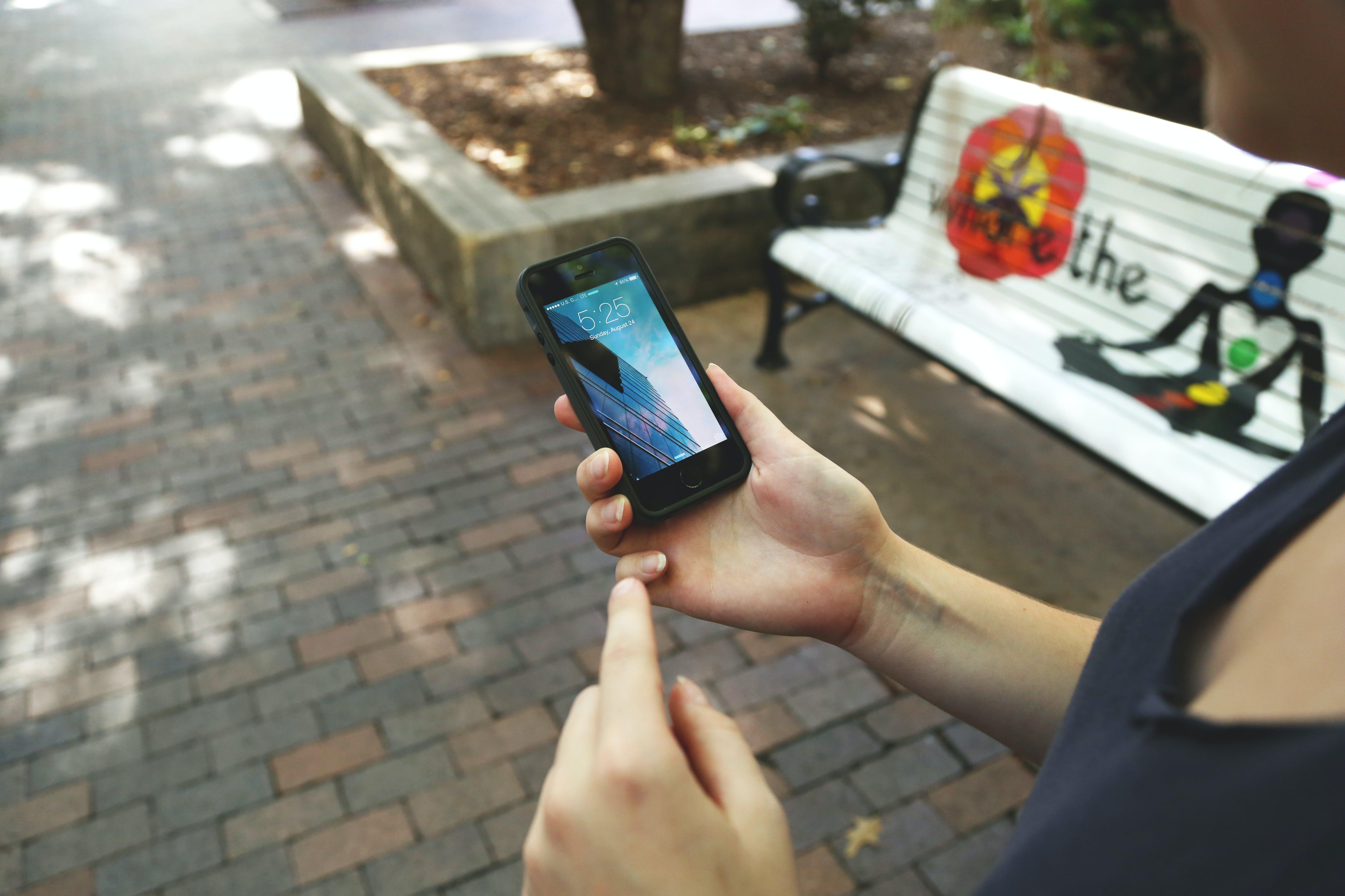Free stock photo of bench, cellphone, female, girl
