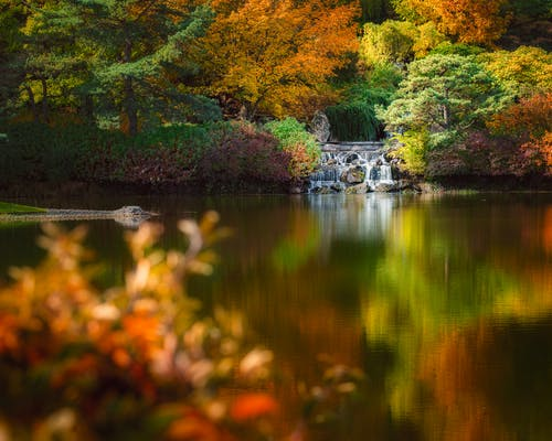 Scenic landscape of waterfall flowing into pond in picturesque autumn park