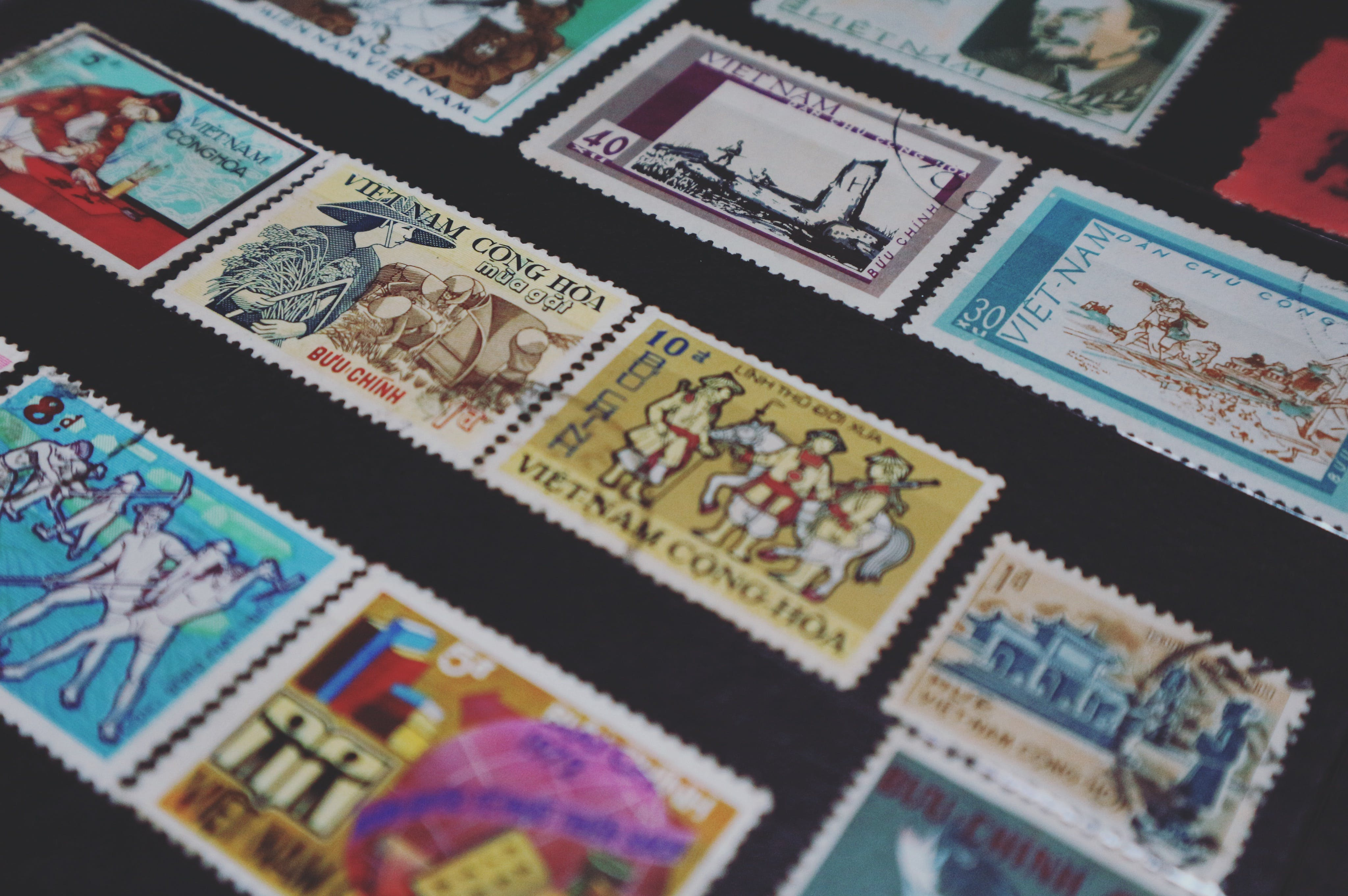 Assorted-colored Vietnam Postage Stamps